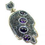 Protective Hamsa Hand Purple Quartz & White Topaz Sterling Silver Pendant