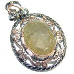 Himalayan Treasure Golden Rutilated Quartz Rose Gold plated over Sterling Silver Pendant