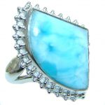 Genuine Larimar Sterling Silver handmade Ring size 8