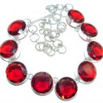 Huge Good Energy Red created Topaz Sterling Silver handmade Necklace