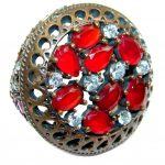 Victorian Style created Ruby & White Topaz Sterling Silver ring; s. 7