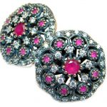 Large Victorian Style created Red Ruby Sterling Silver earrings