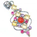 Multigem Rose Gold plated over Sterling Silver handcrafted Pendant