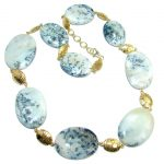 Oversized! Amazing Beauty Dendritic Agate Sterling Silver necklace