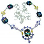 Mystical Eye Rainbow Dichroic Glass Sterling Silver handmade necklace