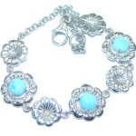 Sublime natural Blue Larimar Sterling Silver handmade Bracelet