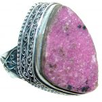 Mysterious Pink Tourmaline Druzy Sterling Silver handmad ring s. 9