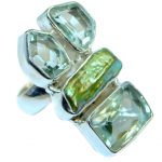 Great quality Green Amethyst Sterling Silver handcrafted Ring size 7