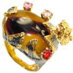 Golden Dragon Australian Mookaite Gold plated over Sterling Silver handmade Ring size 8