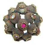 Victorian Style created Ruby & White Topaz Sterling Silver ring; s. 9