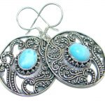 Vintage Style Blue Larimar Oxidized Sterling Silver handmade earrings