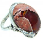 Mexican Fire Opal Oxidized Oxidized Sterling Silver handmade Ring size adjustable