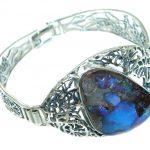 Norwegian Northern Lights AAA Boulder Opal handmade Sterling Silver Bracelet / Cuff
