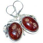 Sublime Design Hessonite Oxidized Sterling Silver handmade earrings