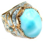 Genuine Larimar Oxidized Rose Gold plated over Sterling Silver handmade Ring size 7