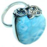 Genuine Larimar Oxidized Sterling Silver handmade Ring size 7 1/2 adjustable