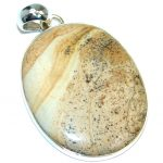 Huge Incredible natural pattern AAA Picture Jasper Sterling Silver handcrafted Pendant
