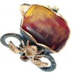 Fine Art Australian Mookaite Gold plated over Sterling Silver handmade Ring size 8