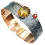 Always Together Genuine Citrine Gold plated over Sterling Silver handmade Bracelet
