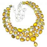 Bold Flamenco Gold Topaz Cubic Zirconia Sterling Silver handmade Necklace