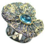 Julietta Blue Topaz Sterling Silver handmade ring size 6 adjustable