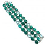 Jumbo Sublime Natural Malachite Sterling Silver handcrafted Bracelet