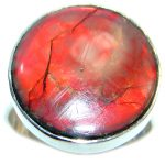 Orange Fire Genuine Canadian Ammolite Sterling Silver handmade ring size 8