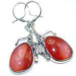 Orange Carnelian Oxidized Sterling Silver handmade earrings