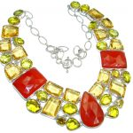 Jumbo Bold Carnelian lab. Golden Topaz Sterling Silver handmade Necklace