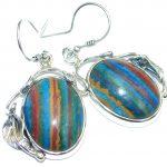 Vintage Design Rainbow Calsilica Sterling Silver handmade earrings