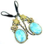 Sea Turtles Blue Larimar Gold Plated Sterling Silver handmade earrings
