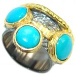 Excellent quality Sleeping Beauty Turquoise Sterling Silver handmade ring size 6