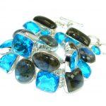Beautiful Shimmering Labradorite and Blue Quartz Sterling Silver handmade Bracelet