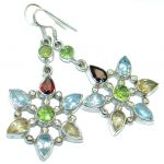 Flowers Genuine Multigem Sterling Silver handmade earrings