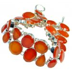 Boho Style Sunset in Tuscon Authentic Carnelian Sterling Silver handmade Bracelet