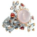 Real Beauty Rose Quartz Rose Gold plated over Sterling Silver handmade Ring size 8