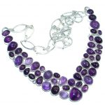 Huge Bohemian Style Genuine Amethyst Sterling Silver handmade necklace