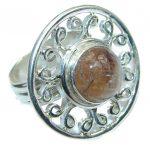 Genuine Golden Rutilated Quartz Sterling Silver handmade ring size 7
