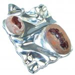 One of the kind Mexican Fire Opal Hammered Sterling Silver handmade Pendant