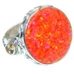Pink Japanese Fire Opal Sterling Silver handcrafted ring size 7 adjustable