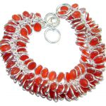 Blue Tears natural Authentic Carnelian Sterling Silver handmade Bracelet