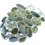 Large Cascade of light GENUINE Labradorite Sterling Silver handmade Bracelet