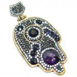 Victorian Style Purple Hamsa Hand & White Topaz Sterling Silver Pendant