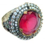 Large Victorian Style created Ruby & White Topaz Sterling Silver ring; s. 8 1/4