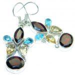 Unique NATURAL Garnet .925 Sterling Silver handmade earrings