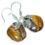 Genuine Golden Tigers Eye Oxidized Sterling Silver handmade Earrings