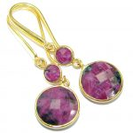 Trendy Ruby Gold plated over .925 Sterling Silver handmade earrings