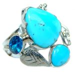 Sleeping Beauty Turquoise Sterling Silver Ring size 7 3/4