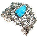 Baroque Genuine Blue Larimar 18 ct Rose Gold Rhodium plated over Sterling Silver handmade Bracelet Cuff