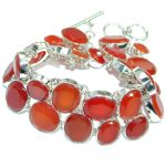 Large Cascade of light GENUINE Carnelian .925 Sterling Silver handmade Bracelet